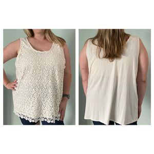 Ana A New Approach Cream Lace Tank Top Blouse 3X
